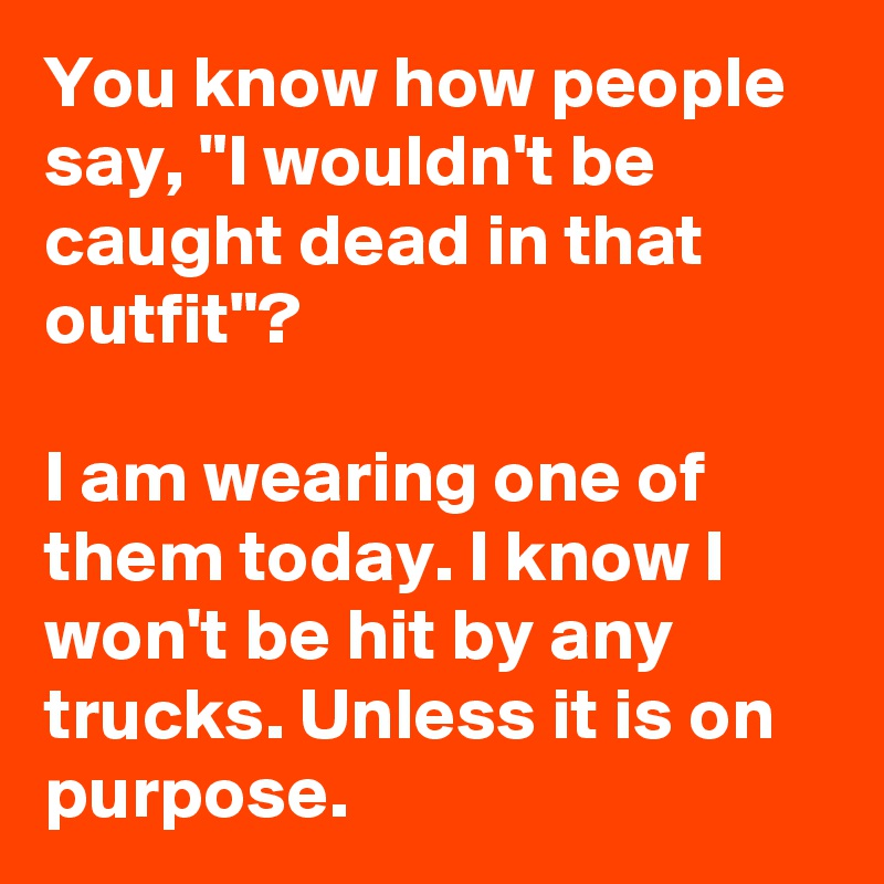 """You know how people say, """"I wouldn't be caught dead in that outfit""""?  I am wearing one of them today. I know I won't be hit by any trucks. Unless it is on purpose."""