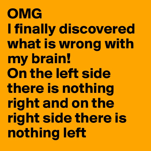 OMG I finally discovered what is wrong with my brain! On the left side there is nothing right and on the right side there is nothing left