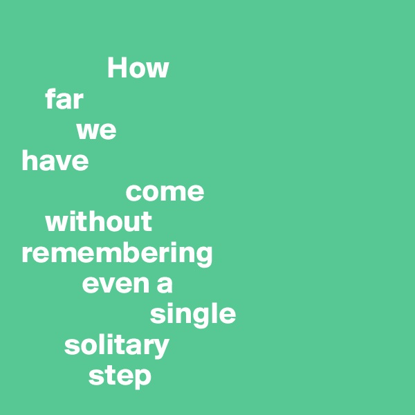 How      far           we  have                   come     without  remembering            even a                       single         solitary             step