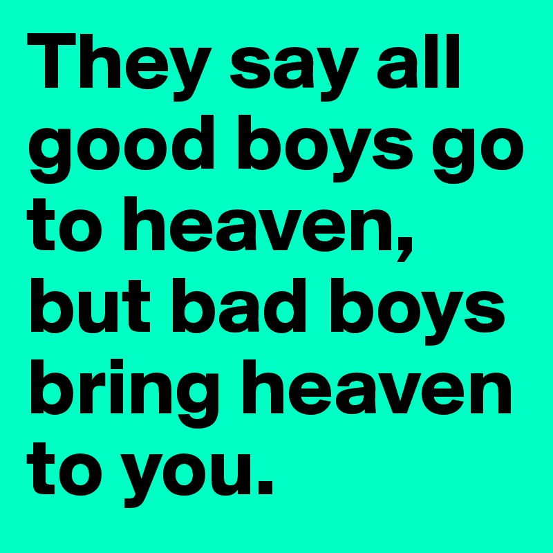 They say all good boys go to heaven, but bad boys bring heaven to you.