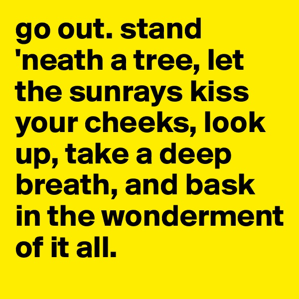 go out. stand 'neath a tree, let the sunrays kiss your cheeks, look up, take a deep breath, and bask in the wonderment of it all.