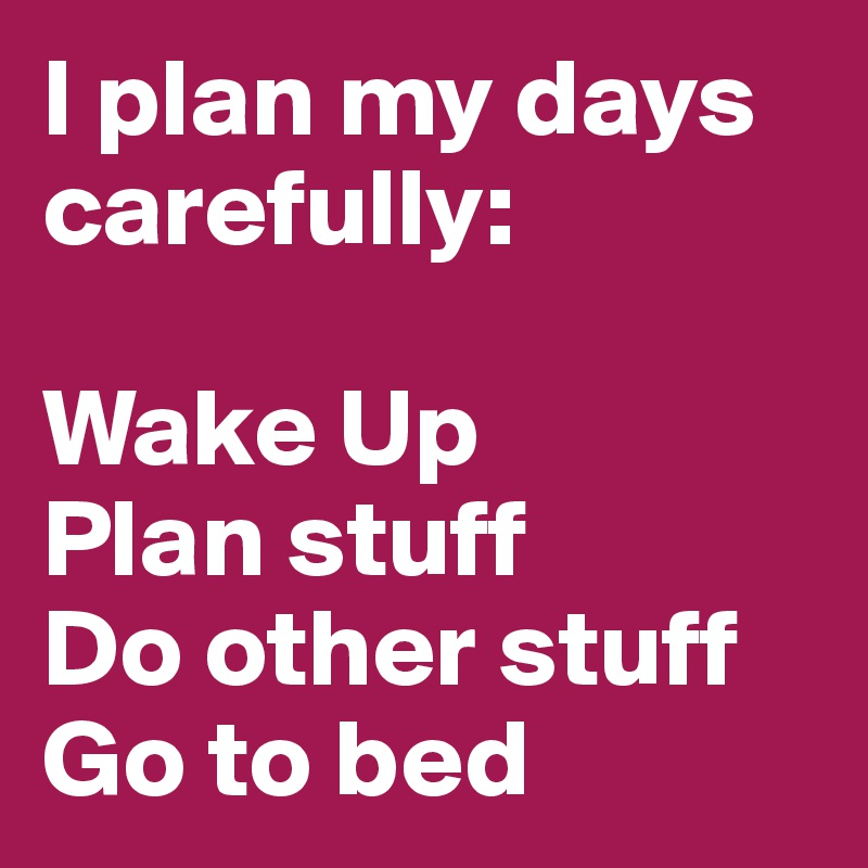 I plan my days carefully:  Wake Up Plan stuff Do other stuff Go to bed