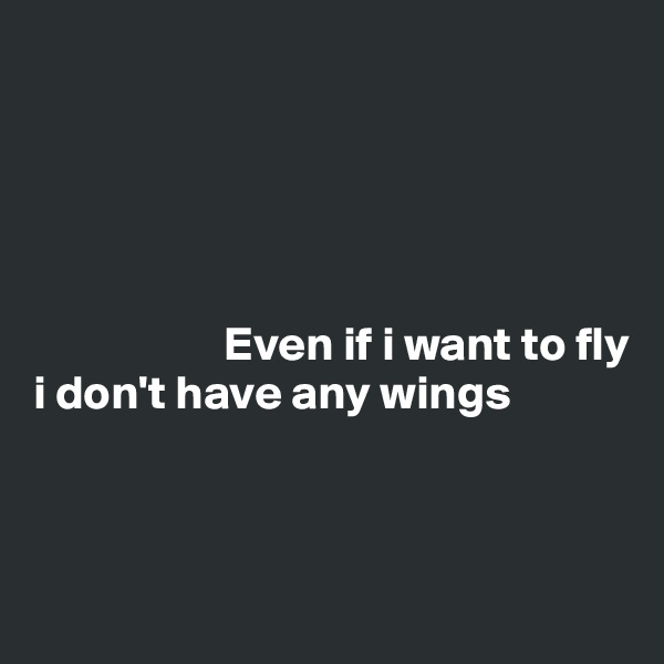 Even if i want to fly i don't have any wings