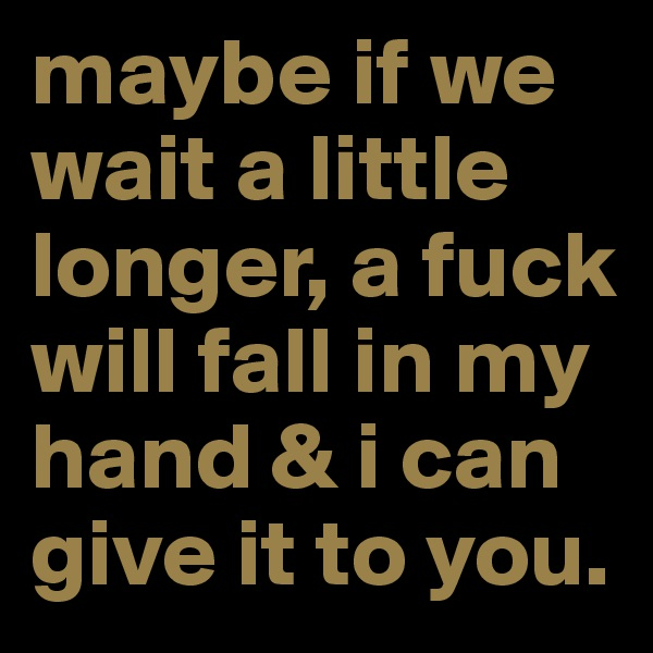 maybe if we wait a little longer, a fuck will fall in my hand & i can give it to you.