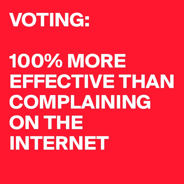 VOTING:  100% MORE EFFECTIVE THAN COMPLAINING ON THE INTERNET
