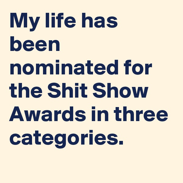 My life has been nominated for the Shit Show Awards in three categories.