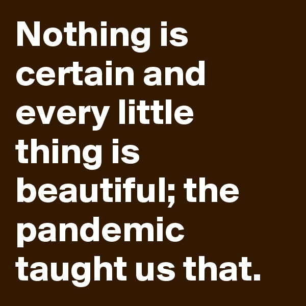 Nothing is certain and every little thing is beautiful; the pandemic taught us that.