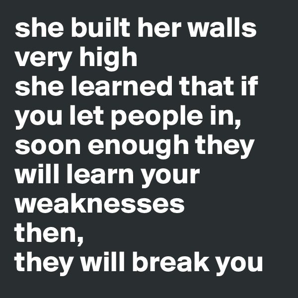 she built her walls very high she learned that if you let people in, soon enough they will learn your weaknesses then, they will break you
