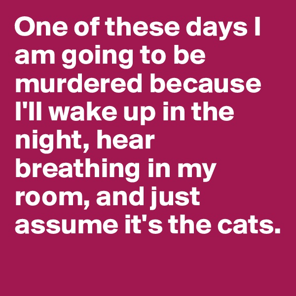 One of these days I am going to be murdered because I'll wake up in the night, hear breathing in my room, and just assume it's the cats.