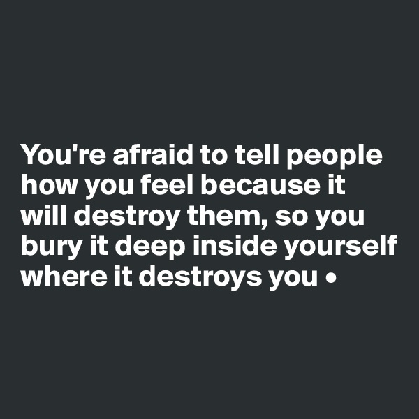 You're afraid to tell people how you feel because it will destroy them, so you bury it deep inside yourself where it destroys you •