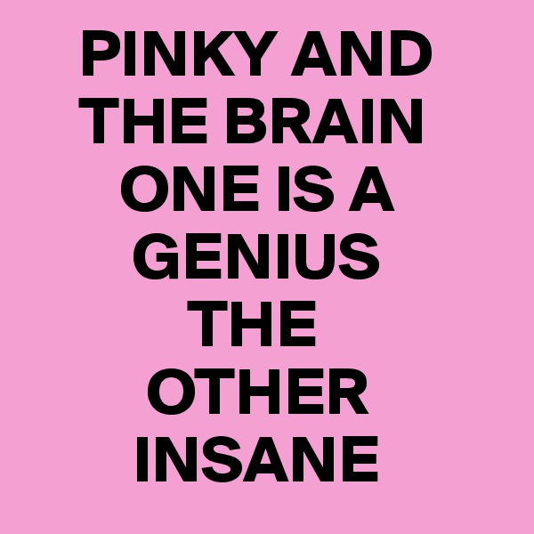 PINKY AND          THE BRAIN          ONE IS A            GENIUS              THE            OTHER           INSANE
