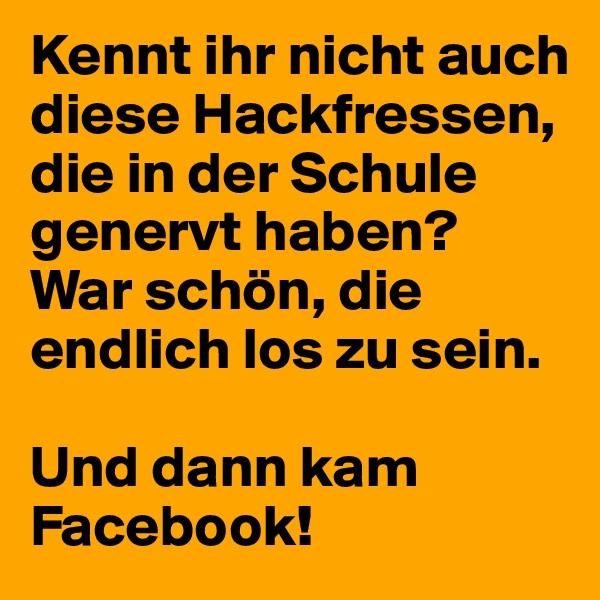 Kennt ihr nicht auch diese Hackfressen, die in der Schule genervt haben?  War schön, die endlich los zu sein.   Und dann kam Facebook!
