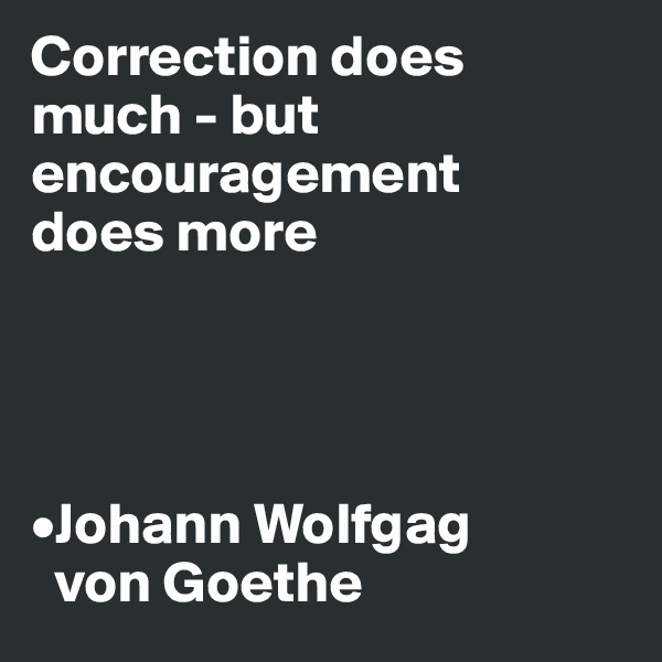 Correction does  much - but encouragement  does more     •Johann Wolfgag    von Goethe