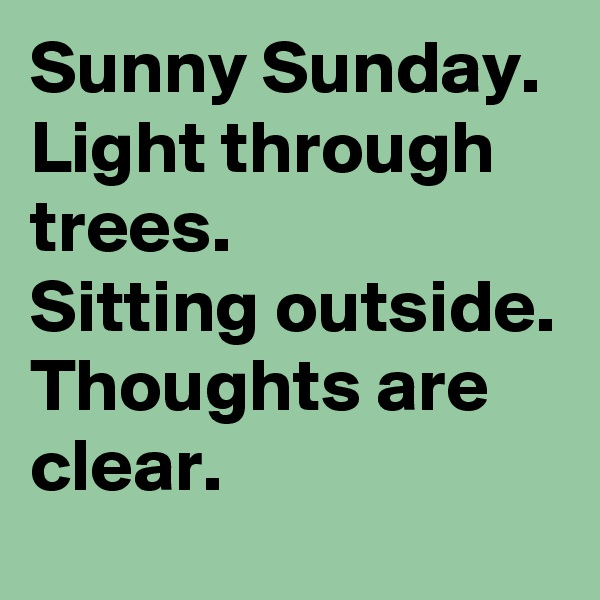 Sunny Sunday. Light through trees. Sitting outside. Thoughts are clear.
