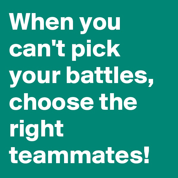 When you can't pick your battles,  choose the right teammates!