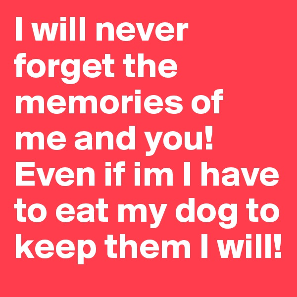I will never forget the memories of me and you! Even if im I have to eat my dog to keep them I will!