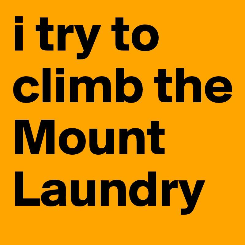 i try to climb the Mount Laundry