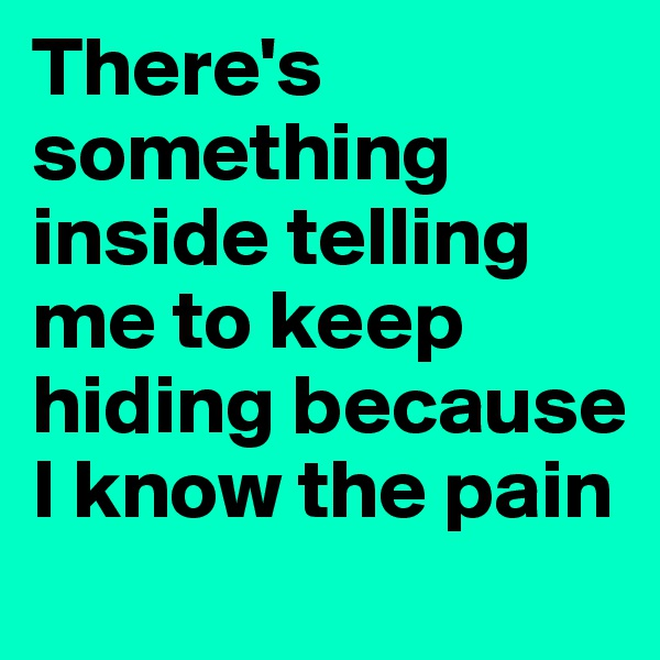 There's  something inside telling me to keep hiding because I know the pain