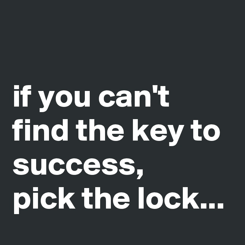 if you can't find the key to success,  pick the lock...