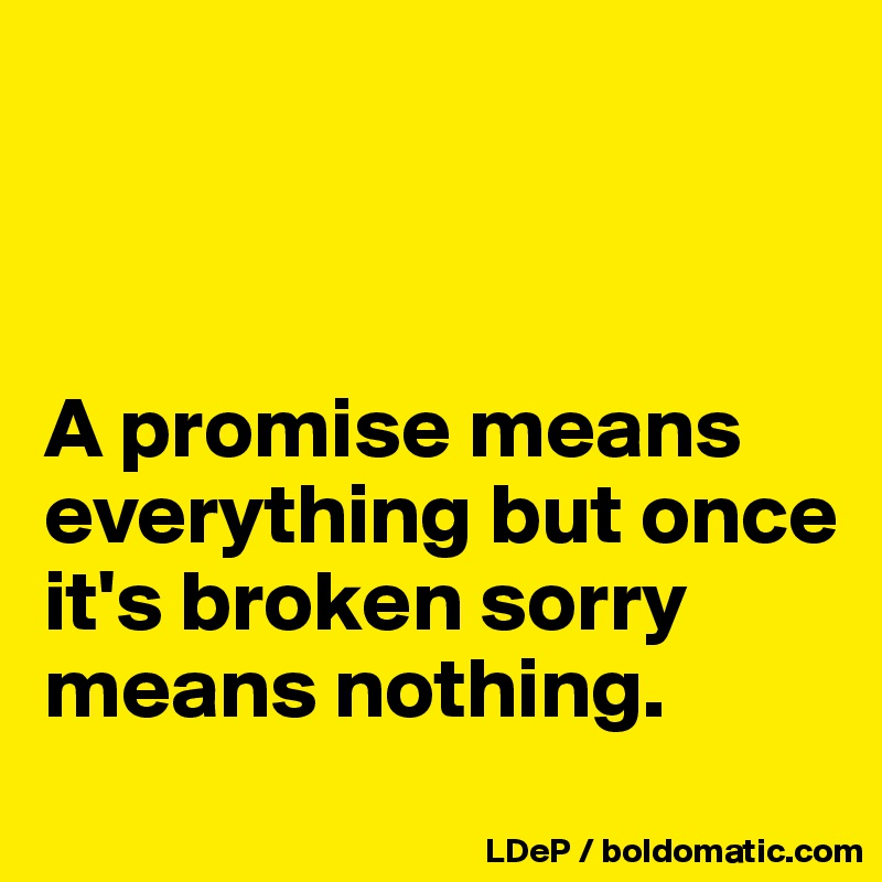 A promise means everything but once it's broken sorry means nothing.