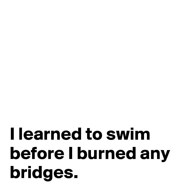 I learned to swim before I burned any bridges.