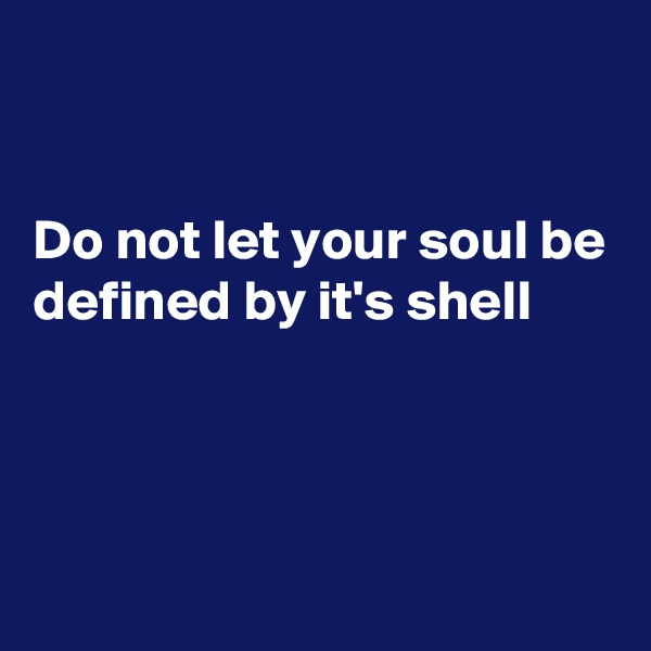 Do not let your soul be defined by it's shell