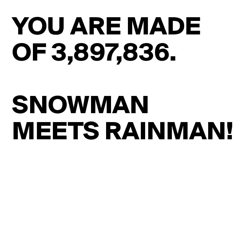 YOU ARE MADE OF 3,897,836.  SNOWMAN MEETS RAINMAN!