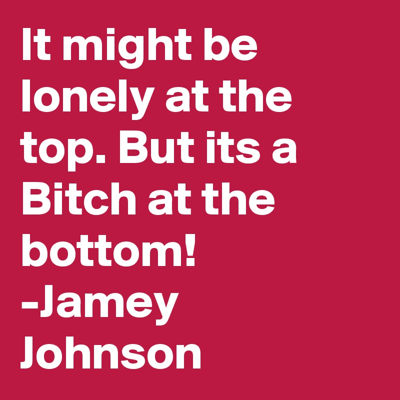 It might be lonely at the top. But its a Bitch at the bottom! -Jamey Johnson