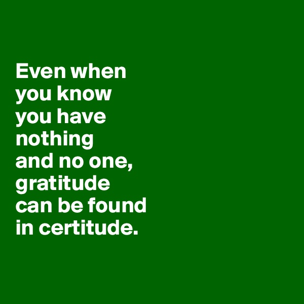 Even when  you know  you have  nothing  and no one,  gratitude  can be found  in certitude.