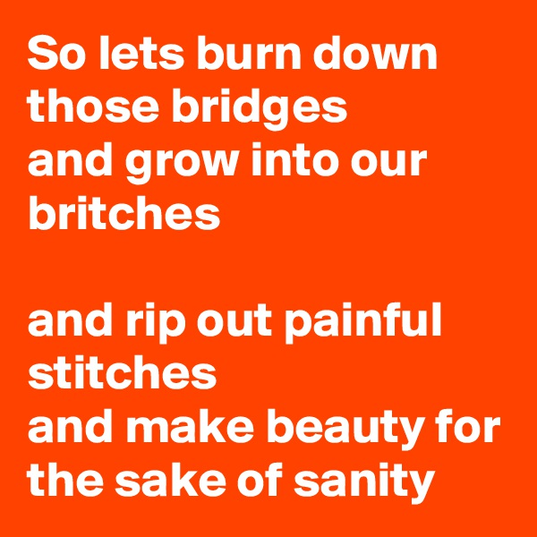 So lets burn down those bridges  and grow into our britches   and rip out painful stitches  and make beauty for the sake of sanity