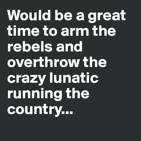Would be a great time to arm the rebels and overthrow the crazy lunatic running the country...