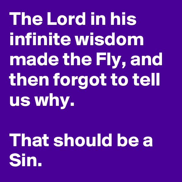 The Lord in his infinite wisdom made the Fly, and then forgot to tell us why.  That should be a Sin.