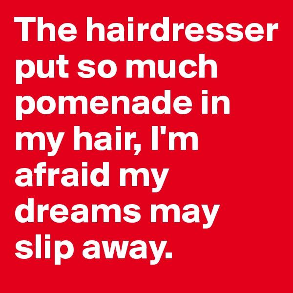 The hairdresser put so much pomenade in my hair, I'm afraid my dreams may slip away.