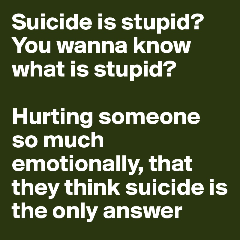 Suicide is stupid? You wanna know what is stupid?  Hurting someone so much emotionally, that they think suicide is the only answer