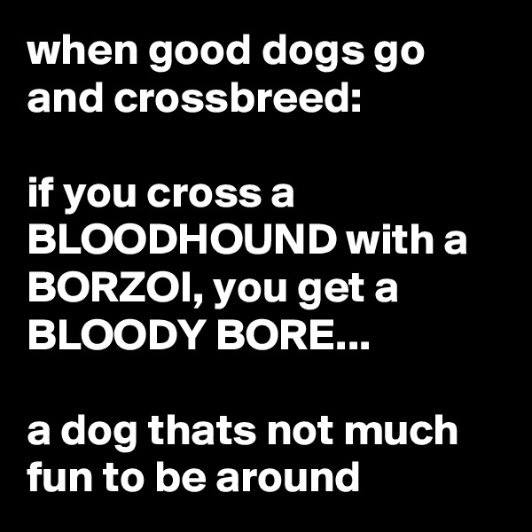 when good dogs go and crossbreed:  if you cross a BLOODHOUND with a BORZOI, you get a BLOODY BORE...  a dog thats not much fun to be around