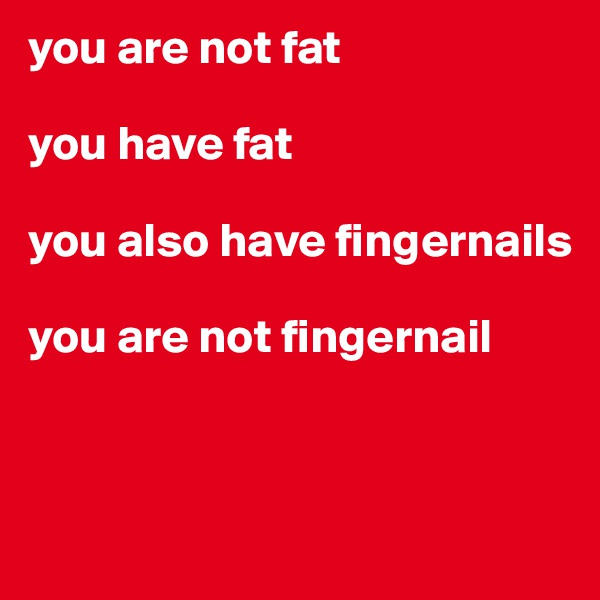 you are not fat  you have fat  you also have fingernails  you are not fingernail