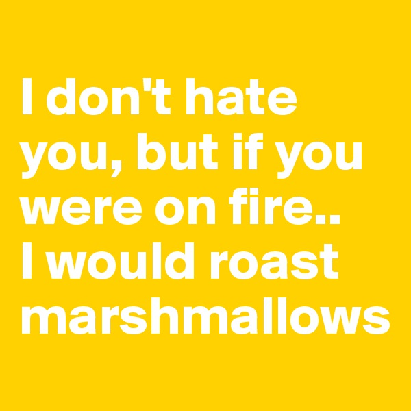 I don't hate you, but if you were on fire..  I would roast marshmallows