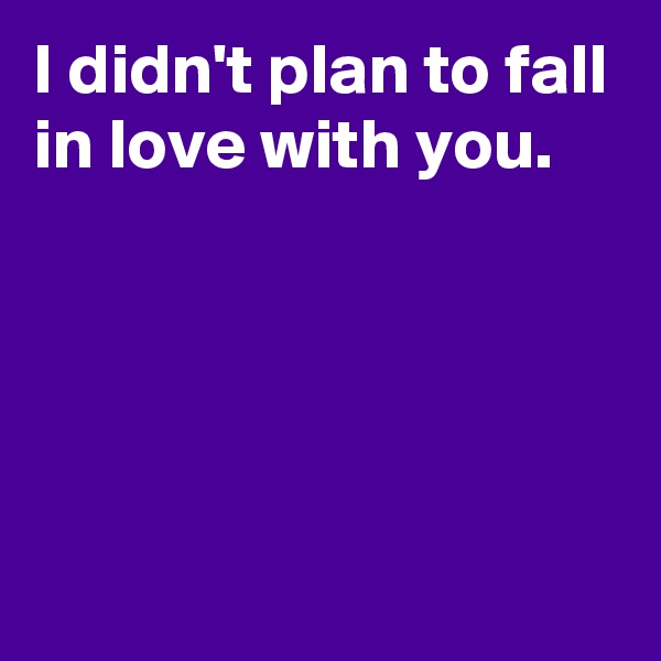 I didn't plan to fall in love with you.