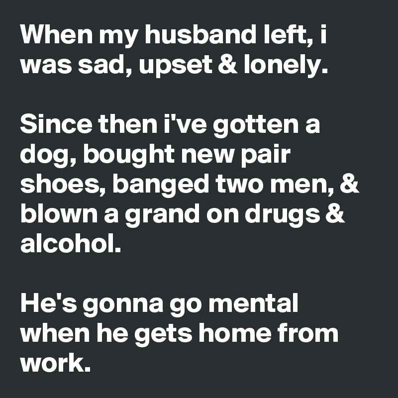When my husband left, i was sad, upset & lonely.  Since then i've gotten a dog, bought new pair shoes, banged two men, & blown a grand on drugs & alcohol.  He's gonna go mental when he gets home from work.
