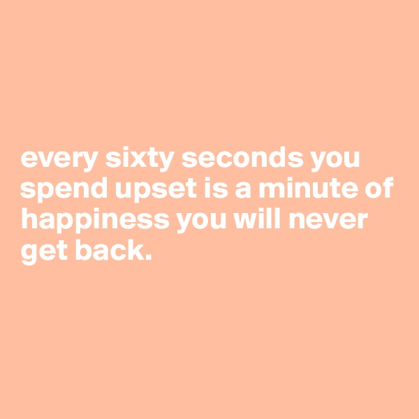 every sixty seconds you spend upset is a minute of happiness you will never get back.