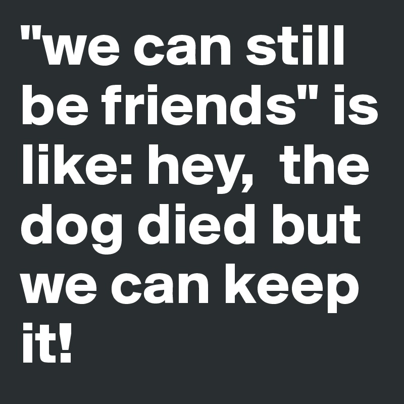 """we can still be friends"" is like: hey,  the dog died but we can keep it!"
