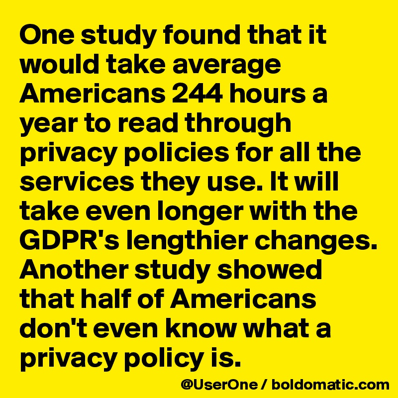 One study found that it would take average Americans 244 hours a year to read through privacy policies for all the services they use. It will take even longer with the GDPR's lengthier changes. Another study showed that half of Americans don't even know what a privacy policy is.