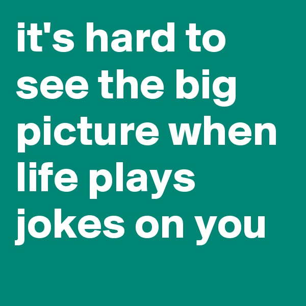 it's hard to see the big picture when life plays jokes on you