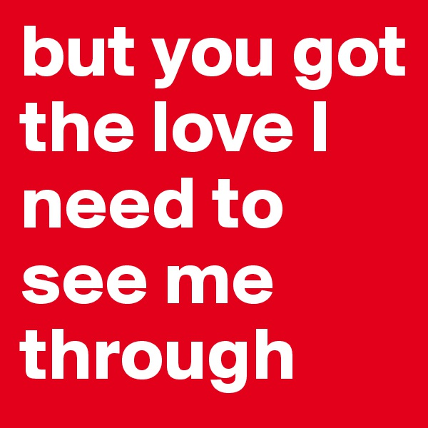 but you got the love I need to see me through