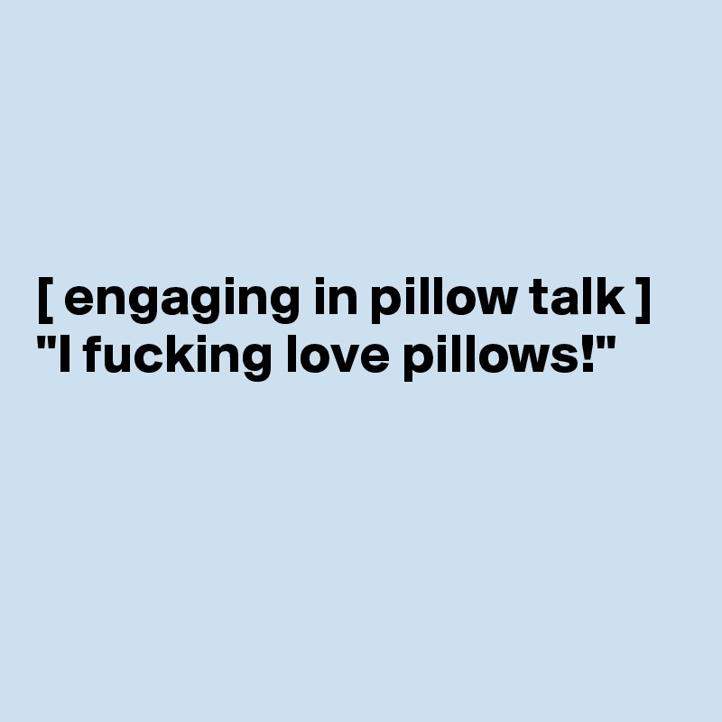 "[ engaging in pillow talk ] ""I fucking love pillows!"""