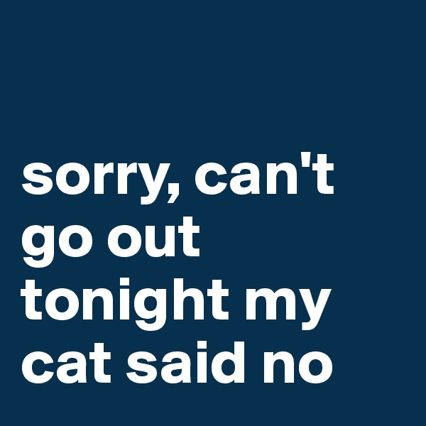 sorry, can't go out tonight my cat said no