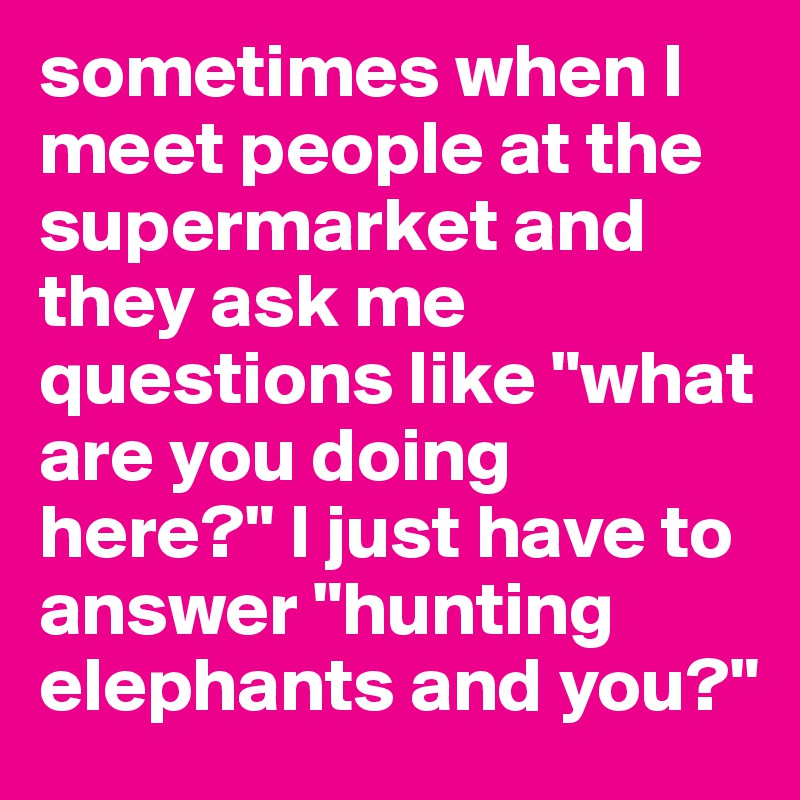 """sometimes when I meet people at the supermarket and they ask me questions like """"what are you doing here?"""" I just have to answer """"hunting elephants and you?"""""""