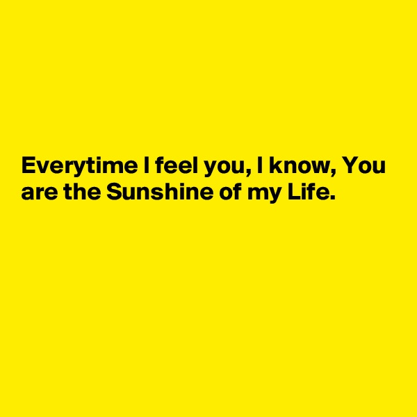 Everytime I feel you, I know, You are the Sunshine of my Life.