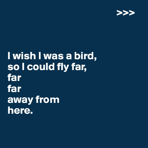 >>>    I wish I was a bird, so I could fly far, far far  away from  here.