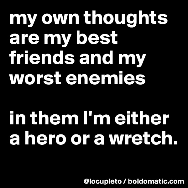 my own thoughts are my best friends and my worst enemies  in them I'm either a hero or a wretch.